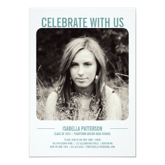 Retro Modern Bold Graduation Party Photo | Teal Card
