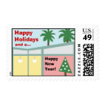 Retro Modern Christmas Holiday Postage Stamp