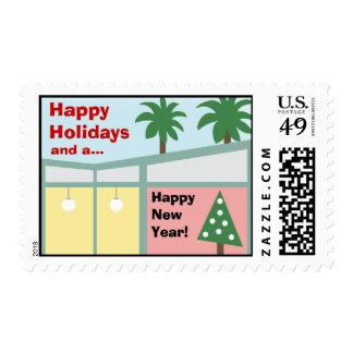 Retro Modern Christmas Holiday Postage Stamp