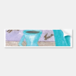 Retro Modern Coffee Design Turquoise Java Brown Bumper Sticker