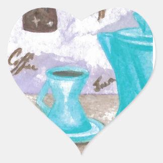 Retro Modern Coffee Design Turquoise Java Brown Heart Sticker