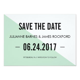 Retro Modern Color Block Save the Date Card (Mint)