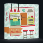 """Retro Modern Colorful Kitchen Recipe Binder<br><div class=""""desc"""">A recipe binder featuring a light blue background with light zigzags covering entire outside surface. Front features an illustration of a retro modern kitchen featuring a farm sink with cabinets, a window, a refrigerator, a stove, and a counter with two stools. Personalize with your name over orange ribbon that extends...</div>"""