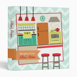 Retro Modern Colorful Kitchen Recipe Binder