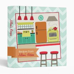 Retro Modern Colorful Kitchen Recipe Binder