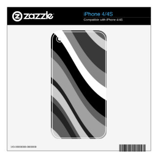 Retro modern curves, waves black grey, white, gift iPhone 4S decal