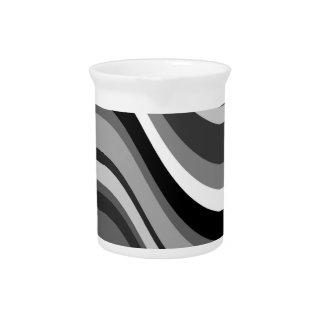 Retro modern curves, waves black grey, white, gift pitcher