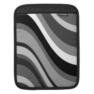 Retro modern curves, waves black grey, white, gift sleeve for iPads