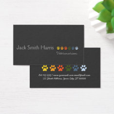Retro Modern Elegant Pets Paws Professional Business Card at Zazzle