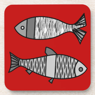 Retro Modern Fish, Deep Red and Gray / Grey Beverage Coaster