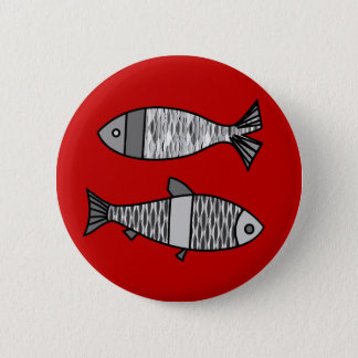 Retro Modern Fish, Deep Red and Gray / Grey Button