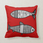 "Retro Modern Fish, Deep Red and Gray / Grey Throw Pillow<br><div class=""desc"">Mid-Century Modern,  whimsical,  retro fish pattern throw pillow,  in shades of  light silver gray / grey to deep graphite gray on a deep lipstick red background</div>"