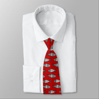 Retro Modern Fish, Deep Red and Gray / Grey Tie