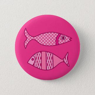 Retro Modern Fish, Fuchsia, Light Pink, Deep Pink Pinback Button