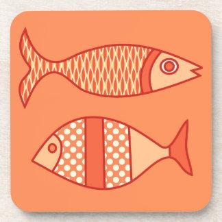 Retro Modern Fish, Light Coral Orange & Tangerine Beverage Coaster