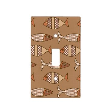 Coffee Themed Retro Modern Fish, Tan, Beige and Light Brown Light Switch Cover