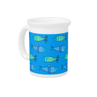 Retro Modern Fish, Turquoise and Cerulean Blue Beverage Pitcher