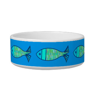 Retro Modern Fish, Turquoise and Cerulean Blue Bowl