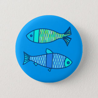 Retro Modern Fish, Turquoise and Cerulean Blue Pinback Button