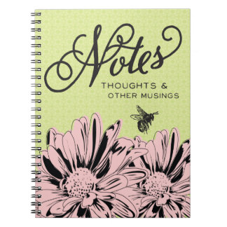 Retro Modern Flowers & Vintage Bee Notes Notebook