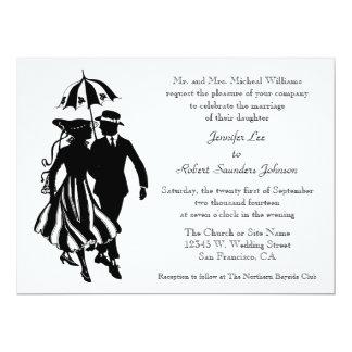 Retro Modern Formal Wedding Fashion Black White Announcement Card