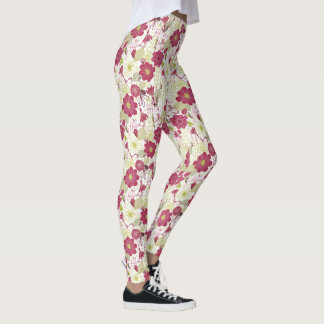 Retro Modern Graphic Pink & Green Flowering Vines Leggings