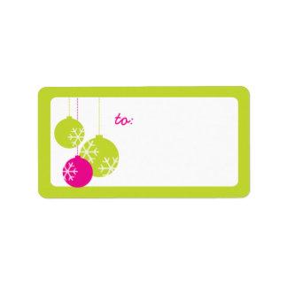 Retro Modern Holiday Ornaments Christmas Labels Custom Address Labels