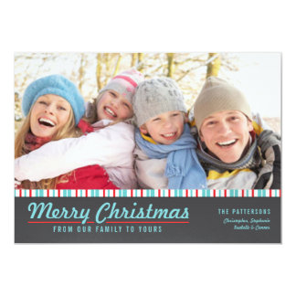 Retro Modern Merry Christmas Red Teal Photo Card