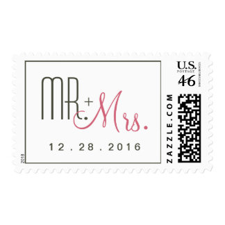 Retro Modern Mr and Mrs Save the Date Postage