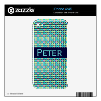 Retro Modern Polka Dots Custom Name iPhone 4S Skins