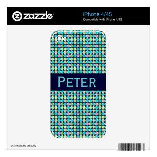 Retro Modern Polka Dots Custom Name iPhone 4S Skins