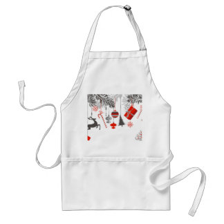 Retro Modern Red & Grey Christmas Ornaments Adult Apron