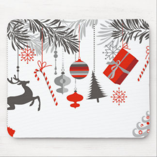 Retro Modern Red & Grey Christmas Ornaments Mouse Pad