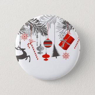 Retro Modern Red & Grey Christmas Ornaments Pinback Button