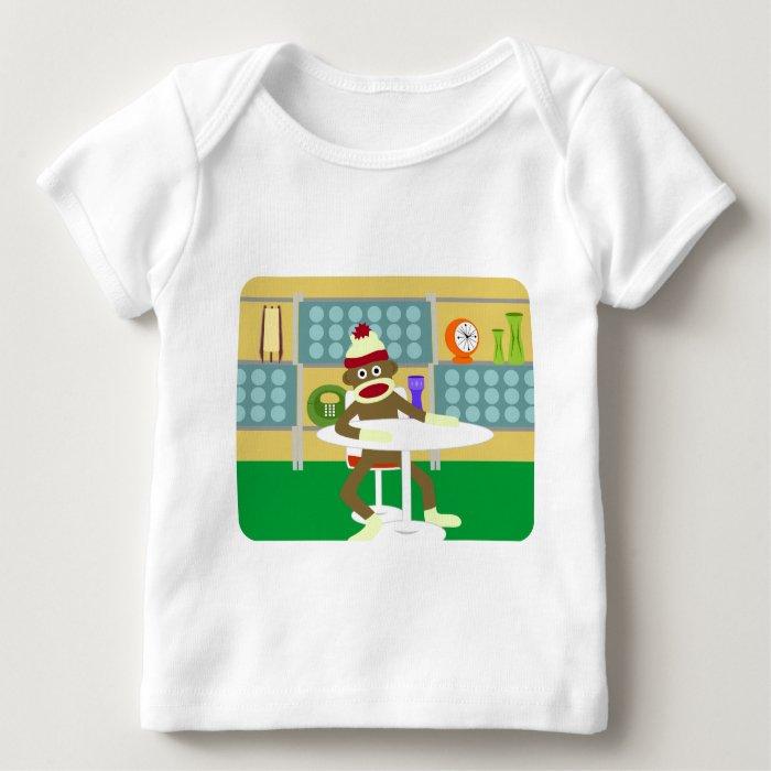 Retro Modern Sock Monkey Baby T-Shirt