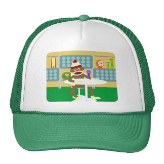 Retro Modern Sock Monkey Trucker Hat