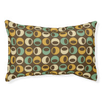 Retro Modern Spheres Pattern Dog Bed - Brown