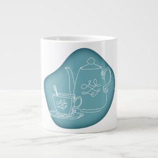 Retro Modern Vintage Tea Mug 20 Oz Large Ceramic Coffee Mug