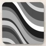 Retro modern waves, curves black grey, white, gift beverage coaster