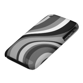 Retro modern waves, curves black, grey, white gift iPhone 3 covers