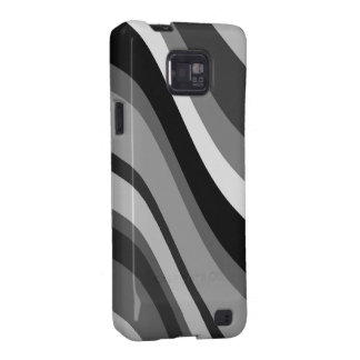 Retro modern waves, curves black, grey, white gift samsung galaxy s2 cover