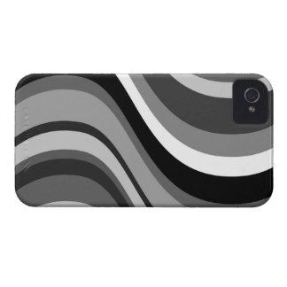 Retro modern waves, curves black, grey, white gift iPhone 4 Case-Mate case