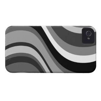 Retro modern waves, curves black, grey, white gift Case-Mate iPhone 4 cases
