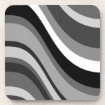 Retro modern waves, curves black grey, white, gift drink coaster