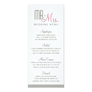Retro Modern Wedding Menu Card