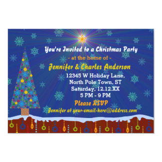 Retro Modern Whimsical Christmas Party Winter Tree Card