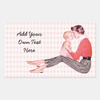 Retro Mom and Baby Rectangular Sticker