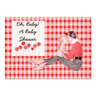 Retro Mom and Baby Shower 5x7 Paper Invitation Card