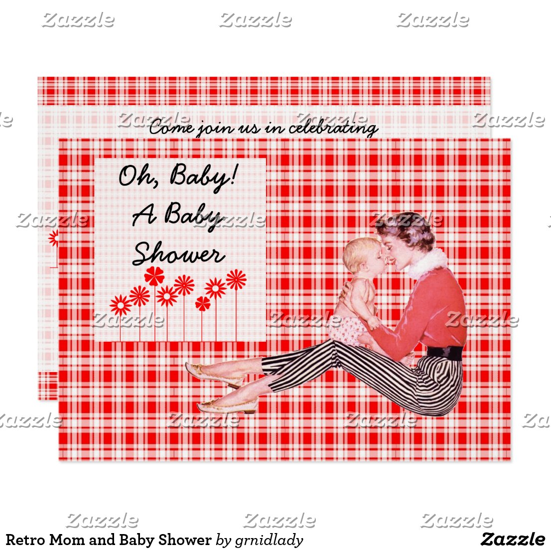 Retro Mom and Baby Shower Invitation