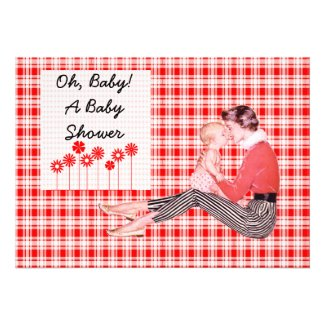 Retro Mom and Baby Shower Personalized Invitation